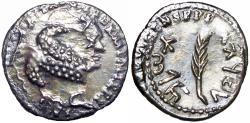 Ancient Coins - Bar Kochba Revolt. 132-135 CE. AR zuz over struck Vespasian Denarri.