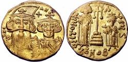 Ancient Coins - Constans II, with Constantine IV, Heraclius, and Tiberius. 641-668. AV Solidus .