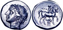Ancient Coins - Calabria, Tarentum AR Nomos. Campano-Tarentine series, circa 275-250 BC.