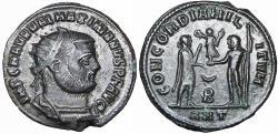 Ancient Coins - Maximianus AE radiate fraction. Antioch. AD 296. scarce.