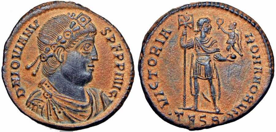 Ancient Coins - Jovian Æ Maiorina. Thessalonica, AD 363-364. A real Gem !!!!!