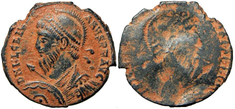 Ancient Coins - Julian II AE3. 361-363 AD. Antioch.  Lovely retrograd issue ( mint error) .