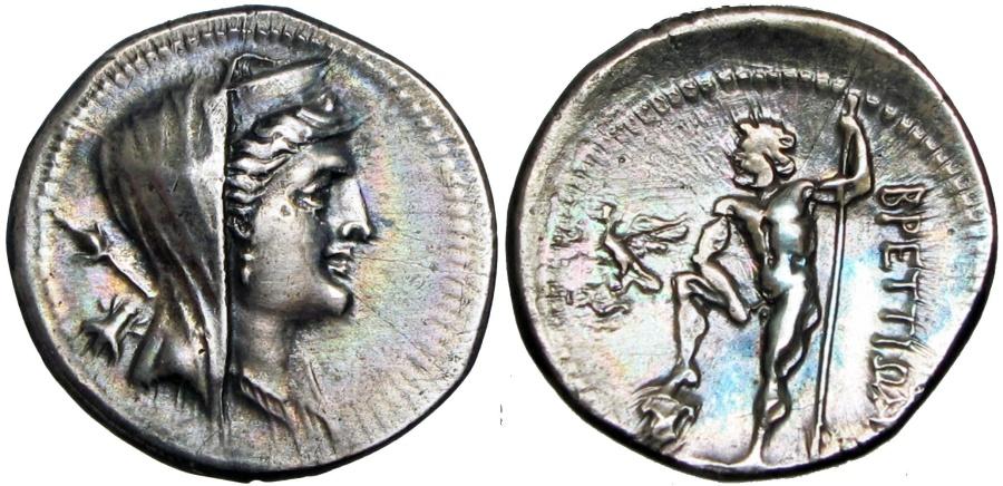 Ancient Coins -  Bruttium, the Brettii AR Drachm. c. 216-214.Beautifully toned  !!!