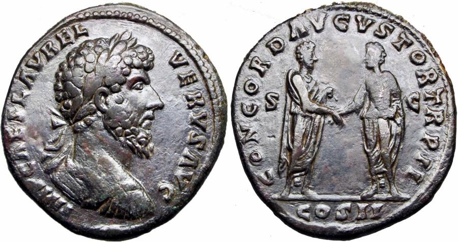 Ancient Coins -  LUCIUS VERUS. 161-169 AD. Æ Sestertius .