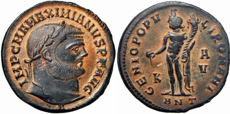 Ancient Coins - Maximianus Herculeus (286-310), Follis,Antiochia, lovely example and patina.