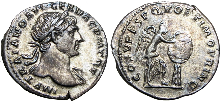 Ancient Coins - Trajan. AD 98-117. attractively toned.
