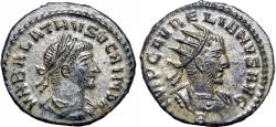 Ancient Coins - Aurelian, with Vabalathus. AD 270-275. fully silvered. stunning example and details.