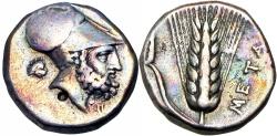 Ancient Coins - Lucania, Metapontum AR Stater. c. 340-330. ; Ex Roma Numismatics, Auction 4 , Lot 1027..