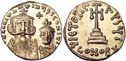 Ancient Coins -  Constans II, with Constantine IV. 641-668. Gold Solidus .