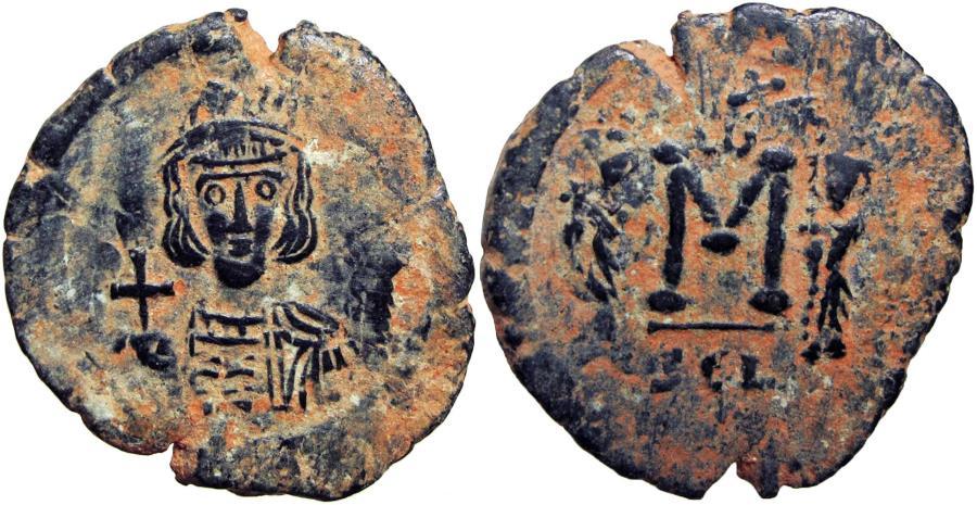 Ancient Coins - Constantine IV Pogonatus, with Heraclius and Tiberius. 668-685. Syracuse mint.