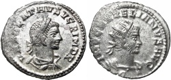 Ancient Coins - Aurelian, with Vabalathus. AD 270-275. FULLY SILVERED !!!