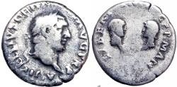 Ancient Coins - Vitellius, with his children. AD 69. Rare .