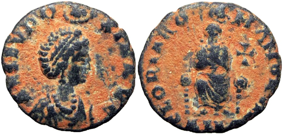 Ancient Coins - AELIA EUDOXIA, wife of Arcadius. Augusta, 400-404 AD.