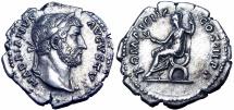 Hadrian Denarius. 117-138AD.