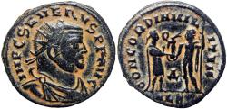 Ancient Coins - Severus II. AD 306-307. Æ Radiate Fraction .