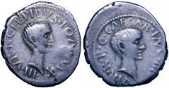 Ancient Coins - M. Aemilius Lepidus and Octavian 43 B.C.