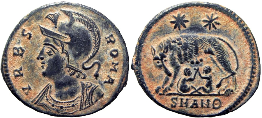 Ancient Coins - ROME COMMEMORATIVE. Antioch mint. Struck circa 330-335 AD. Pleasing example !!!