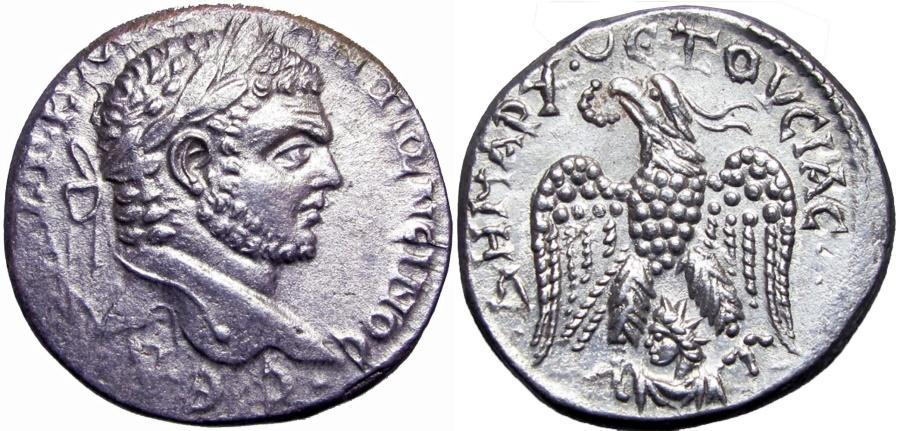 Ancient Coins -  SYRIA, Seleucis and Pieria. Emesa. Caracalla. AD 198-217. lovely rev !!