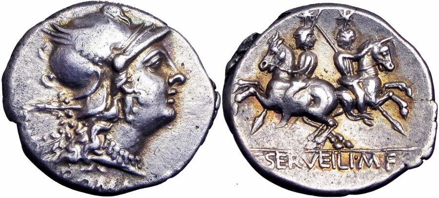 Ancient Coins - ROMAN REPUBLIC, C. SERVILIUS M.F. 136 BC., SUPERB !!