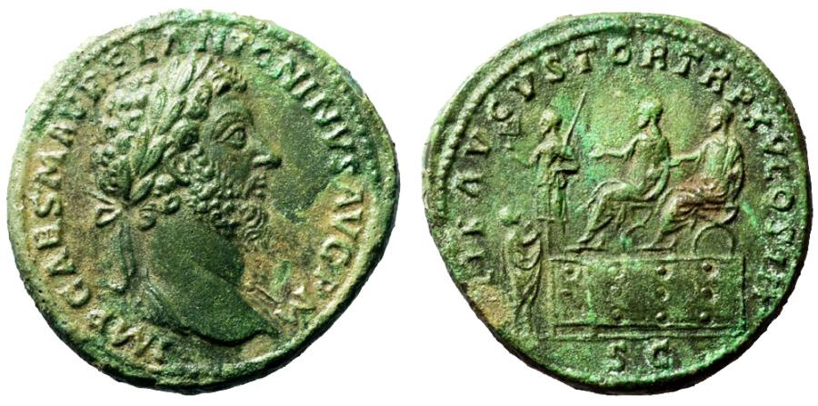 Ancient Coins - Marcus Aurelius Æ Sestertius. Rome, March-December AD 161. Lovely and rare !!!