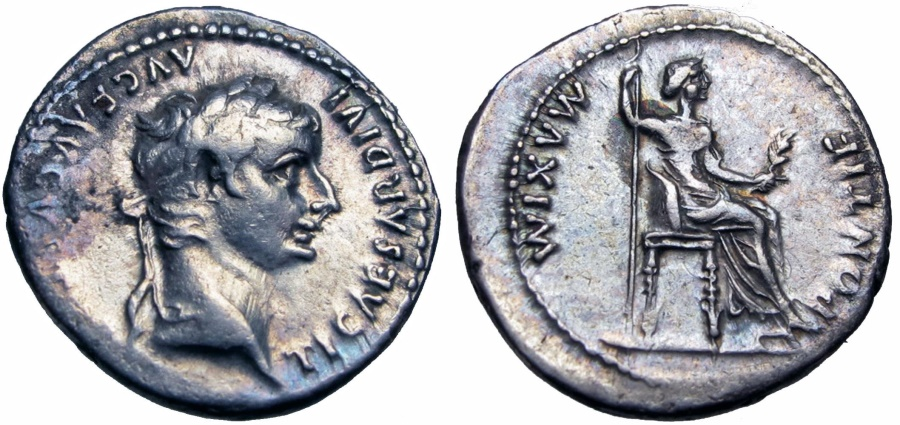 """Ancient Coins - Tiberius. AD 14-37.Biblical """"Tribute Penny""""."""