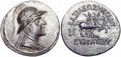 Ancient Coins - Baktria, Greco-Baktrian Kingdom. Eukratides I Megas , Circa 170-145 BC.