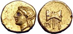 Ancient Coins - Satraps of Karia, Pixodaros AV 1/24 Stater. Circa 341-335 BC. Rare, and well preserved for the issue.