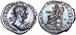Ancient Coins - Hadrian. AD 117-138. AR Denarius, Early heroic portrait. stunning and bold coin.