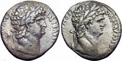 Ancient Coins - Nero, with Divus Claudius I,  Antioch, Seleucis and Pieria.  AD 63-68.