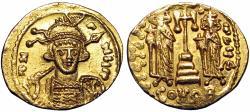 Ancient Coins - Constantine IV Pogonatus, with Heraclius and Tiberius. 668-685. AV Solidus.