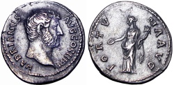 Ancient Coins - Hadrian Denarius. ca 131-138 AD.  Bust variety of BMCRE 641 and RIC 245A. Rare bust variety of a scarce reverse type!!!!