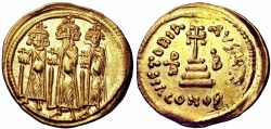 Ancient Coins -  Heraclius, with Heraclius Constantine and Heraclonas. 610-641. AV Solidus