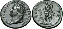 Ancient Coins - Titus Æ As. Rome, struck AD 80.