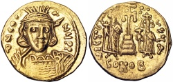 Ancient Coins -  Constantine IV Pogonatus, with Heraclius and Tiberius. 668-685. gold Solidus .