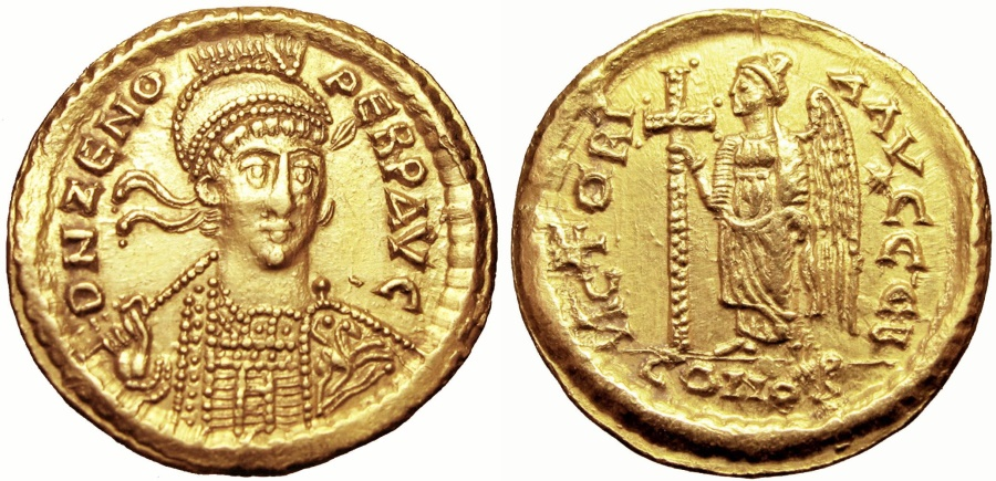 Ancient Coins - Zeno. Second reign, AD 476-491.