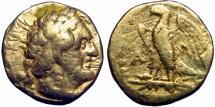 Ancient Coins - Ptolemaic Kingdom of Egypt, Ptolemy I AV Triobol. Alexandria, circa 295-282 BC. Very Rare .
