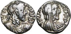Ancient Coins - NABATAEA. Rabbel II, with Gamilat. AD 70/1-105/9. AR Drachm, Stunning unpublished example.