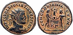Ancient Coins - Diocletian. AE light radiate fraction. Cyzicus. 295-299 AD.