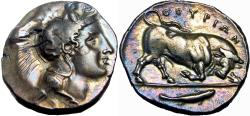 Ancient Coins - Lucania, Thourioi AR Stater. Circa 400-350 BC.