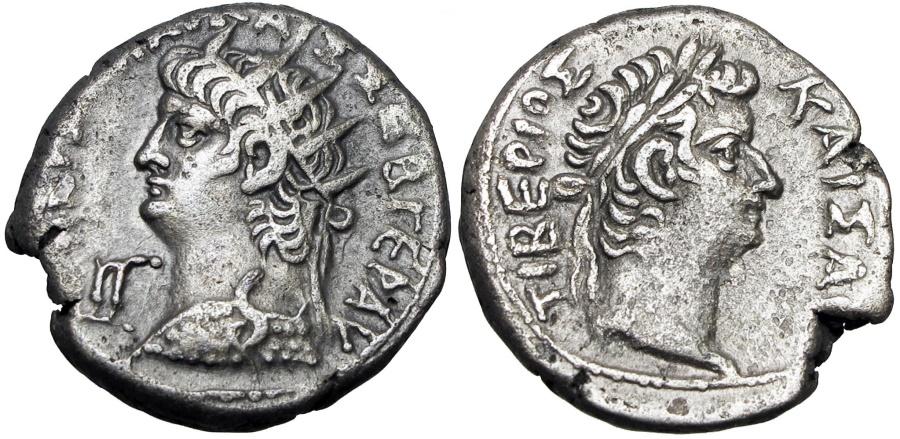 Ancient Coins - EGYPT, Alexandria.  Nero and Divus Tiberius BI Tetradrachm . Year 13, AD 66/7.