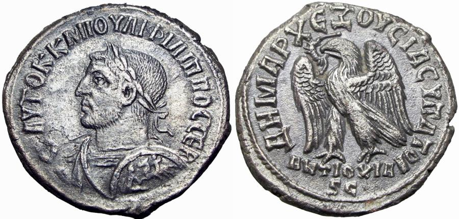 Ancient Coins - SYRIA, Seleucis and Pieria. Antioch. Philip I The Arab. AD 244-249. Rare bust type.