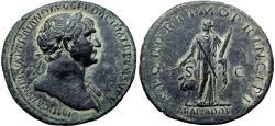 Ancient Coins - TRAJAN. 98-117 AD. Æ Sestertius  Struck circa 112-115 AD. Petra Captive, bold example !!!