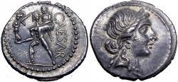 Ancient Coins - Julius Caesar AR Denarius. African mint, 47-46 BC.