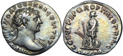 Ancient Coins - Trajan. AD 98-117. AR Denarius , a choice coin and lovely old cabinet tone !!!!