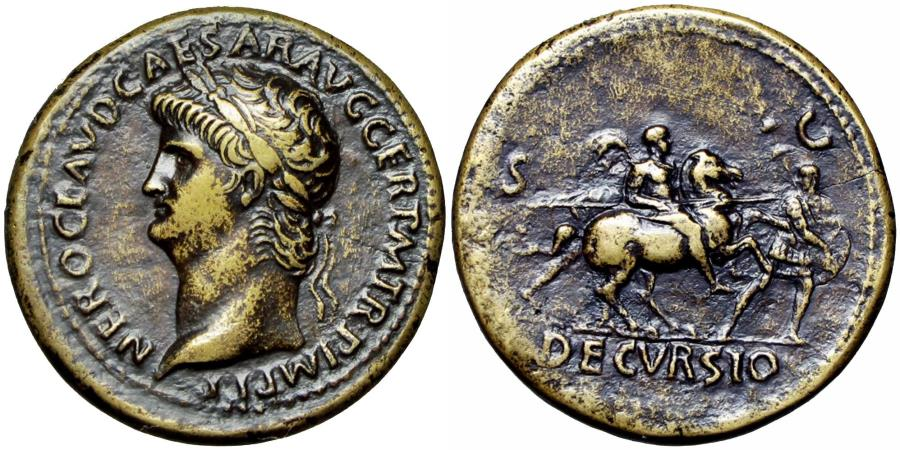 Ancient Coins - Nero Æ Sestertius. Rome, AD 64.  Lovely patia.