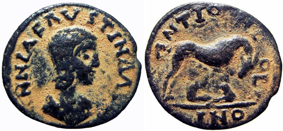 Ancient Coins - Annia Faustina (wife of Elagabalus) Æ17 of Antioch, Pisidia. AD 221.