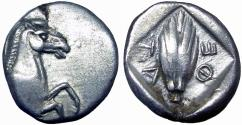 Ancient Coins - Thessaly, Thessalian League AR Hemidrachm. Circa 470-460 BC.