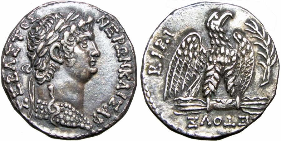 Ancient Coins -  SYRIA, Seleucis and Pieria. Antioch. Nero. AD 54-68. Stunning ,attractively toned. Well centered on a round flan.