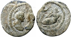 Ancient Coins - ANTINOUS PL TESSERA OF ALEXANDRIA, EGYPT. AD 117-138. , FAVORITE OF HADRIAN (DIED AD 130). Extremely rare .
