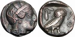 Ancient Coins - Attica, Athens. Ca. 406/5 B.C. Emergency coinage. Stunning example for a very rare issue.